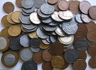 NEW maths school Learning Resource -  SET OF 95 plastic  COINS / play money cash