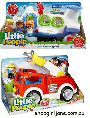 Fisher Price Little People Lil' Movers 2 pack Fire Truck & Airplane Play Set