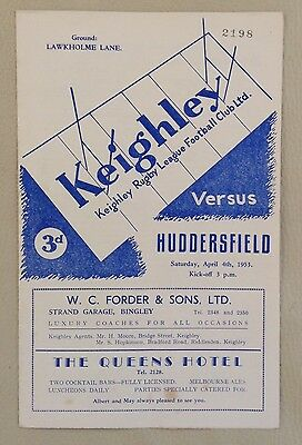 1953 KEIGHLEY v HUDDERSFIELD. Rugby League Programme.