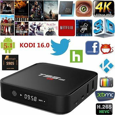 Fully Loaded KODI XBMC T95m S905 Android 5.1 Quad Core 4K TV Box Media Streams