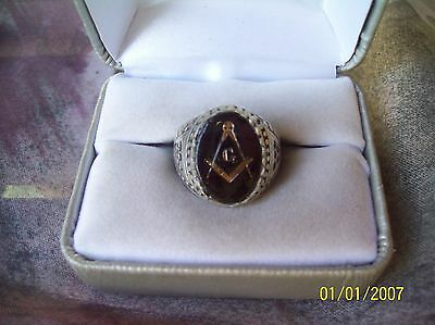 Vintage Sterling Silver 925 Masonic Ring with Black Glass Stone  Size 9 1/2