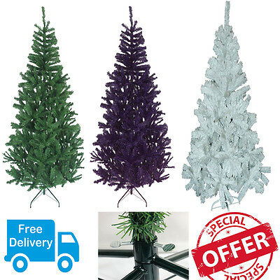 Christmas Xmas Decoration Tree - Green/black/white - 4 5 6 Ft Metal Stand Indoor