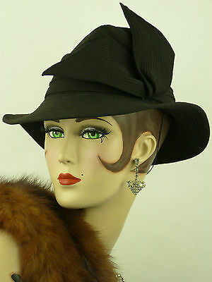 VINTAGE HAT 1940s FRENCH WWII  BLACK STITCH STRIPED FEDORA WITH WINGED SIDE BOW
