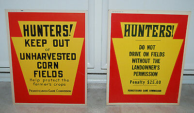 Pair of AUTHENTIC Vintage PA Game Commission Hunter Hunting Signs 1958 & 1967