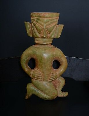 Chinese SanXingDui Culture Style Carve Kneel Pray Wizard Big Jade Statue-JR12498