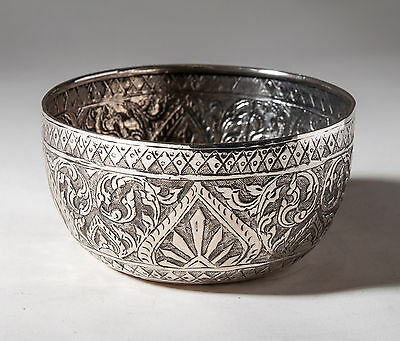Antique Siamese/Thai Silver Kanok Chased Bowl with Chinese Hallmarks