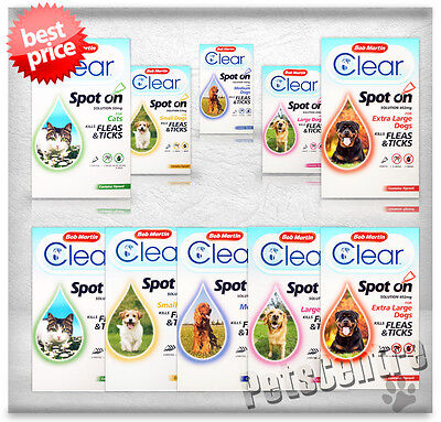 Bob Martin Flea Clear Spot on Cats,Dogs Treatment Kills Fleas, Ticks FleaClear
