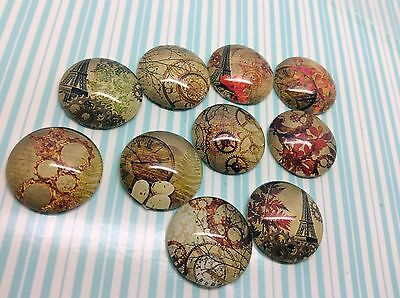 10 x Round glass cabochons, Steampunk vintage images to Fit 20mm Tray Flat Back