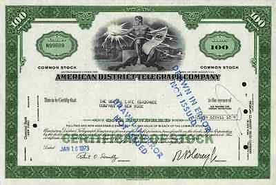 American District Telegraph Company ADT Common Stock 100 Shares 1973 New Jersey