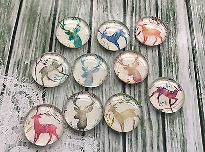 10 x Round glass cabochons, Watercolour Reindeer to Fit 20mm Tray Flat Back