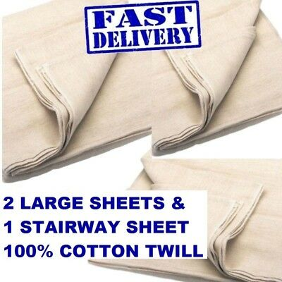 """THREE  PACK TRADITIONAL 100% COTTON TWILL DUST SHEET INCLUDES 24"""" x 3"""" STAIRCASE"""