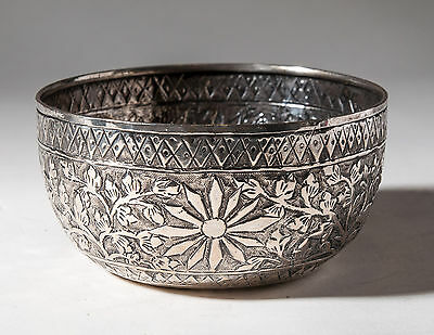 Antique Siamese/Thai Silver Chased Bowl with Chinese Hallmarks & Kanok Pattern