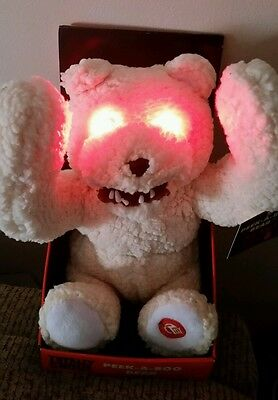 New Totally Ghoul Animated Scary Bear Peek A Boo Lights Up Talks