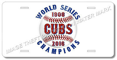 Chicago Illinois CUBS World Series Champions Baseball Team License Plate Gift