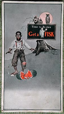 Vintage Black Americana Fisk Tire Advertising Postcard RARE 1925 Time to Re-Tire