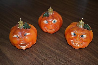 "lot of 3 jack-o-lantern ""funny faces"" wax pumpkin candles"