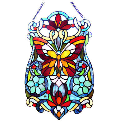 "Tiffany Stained Glass Panel ""Victorian Butterfly Fleurs"""
