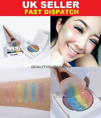 Rainbow Prism Highlighter Powder Lacy Shimmer Eyeshadow Palette Blusher Contour