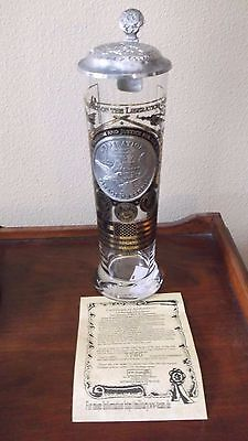 Operation Iraqi Freedom Glass Stein with Pewter Badge and Cert. of Authenticity