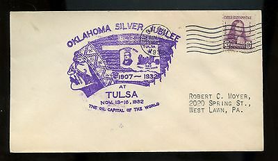 """US Event Cover 1932 Oklahoma Silver Jubilee at Tulsa """"Oil Capital of the World"""""""