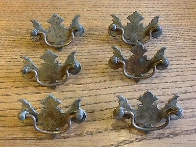 Set of six vintage brass and metal draw pulls