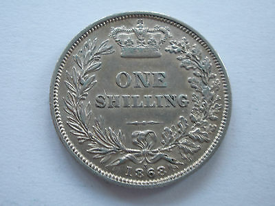 1868 QUEEN VICTORIA SILVER SHILLING - DIE No. 3 - EF with lustre - UK POST FREE