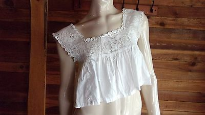 VINTAGE ANTIQUE WHITE CROCHETED  LACE COTTON CAMISOLE or CORSET COVER