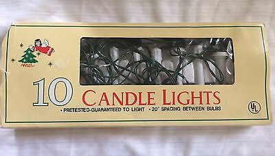 Vintage String of 10 Drip Candle Christmas Tree Lights w Clips 20' Long Working