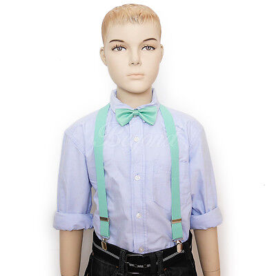 Teal Mint bowtie & suspender set for Baby Toddler Kids Boys U.S SELLER