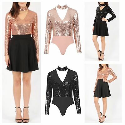 Womens Ladies Long Sleeve Blingy Sequin Choker V Neck Bodysuit Leotard Sexy Top
