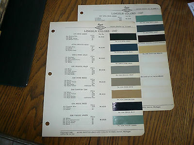 1947 Lincoln ACME Proxlin Color Chip Paint Sample