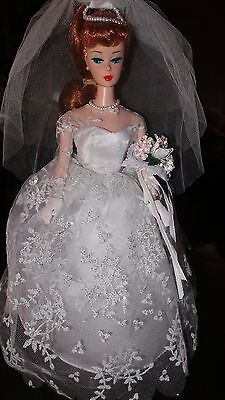 Titian Barbie Doll Wedding Day Vintage Repro Complete Veil Dress Gloves Shoes