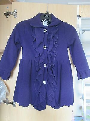 Girls Purple Frill Front Coat - Fleece Type Fabric - Aged 6