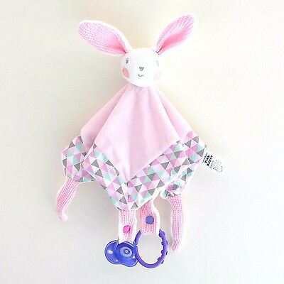 Kids infant Baby Security Blanket Sleep Comforter Soft Toy Cuddle Pink Bunny