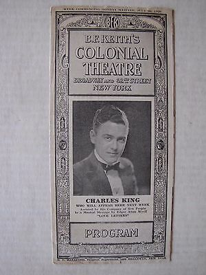 1920 Program B.F. Keith's Colonial Theatre Broadway and 62nd. Street New York