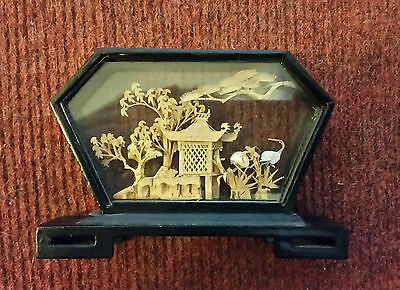 Small Traditional Hand Crafted Chinese Cork Scene in Glass