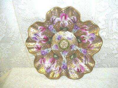 Antique Footed Gold Dish W/ Painted Iris And Gold Beading