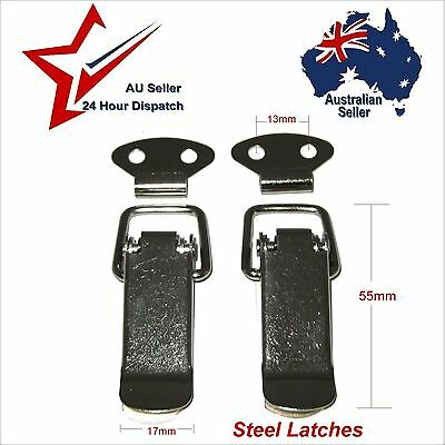 STEEL SPRING TOGGLE LATCHES x 2  box chest case latch camper boxes cupboard door