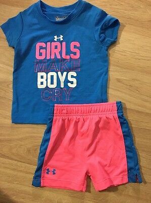 Under Armour Outfit Baby Toddler Size 12 Months Pink Blue