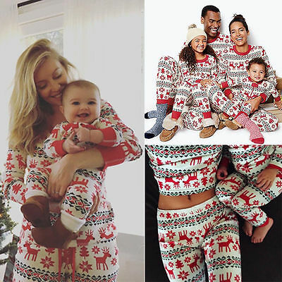 XMAS Gifts Family Matching Pajamas Adult Kids Women Sleepwear Nightwear Sets Lot