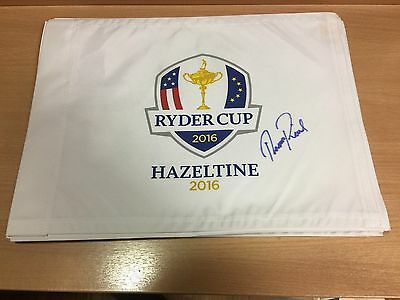 Ryder Cup Golf Flag Hazeltine 2016 Signed by Thomas Pieters Europes best player