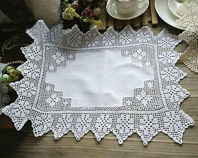 Lovely Fine Yarn Hand Crochet Wide Lace Cotton White Table Topper Placemat