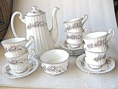 Paragon England Coffee Set Teapot Sugar 6 Cups/saucers Vgc