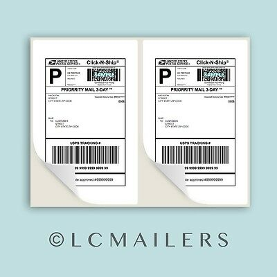 PACKZON® 1000 Shipping Labels 8.5x5.5 Rounded Corner Self Adhesive 2 Per Sheet