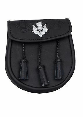 Leather Embossed Sporran Leather 3 Tassels Thistle Crest Leather Sporran