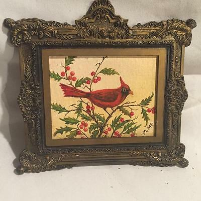 Vintage Ornate Plastic Red Cardinal Painting PICTURE FRAME Chic Vanity Wedding