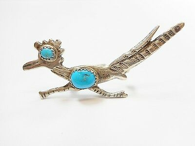 Navajo Southwestern Sterling Silver Turquoise Roadrunner Brooch Pin Signed #2558
