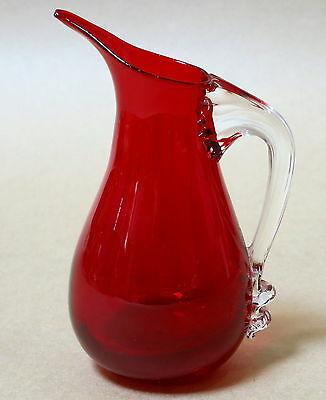 Elegant Whitefriars Ruby Cranberry Glass Jug