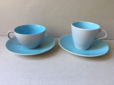 2 x Poole Pottery Two Tone Cups & Saucers Blue And Grey Different Sizes