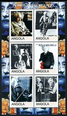 Angola 2000 Einstein Smoking Cycling Bicycle Music Violin Mnh